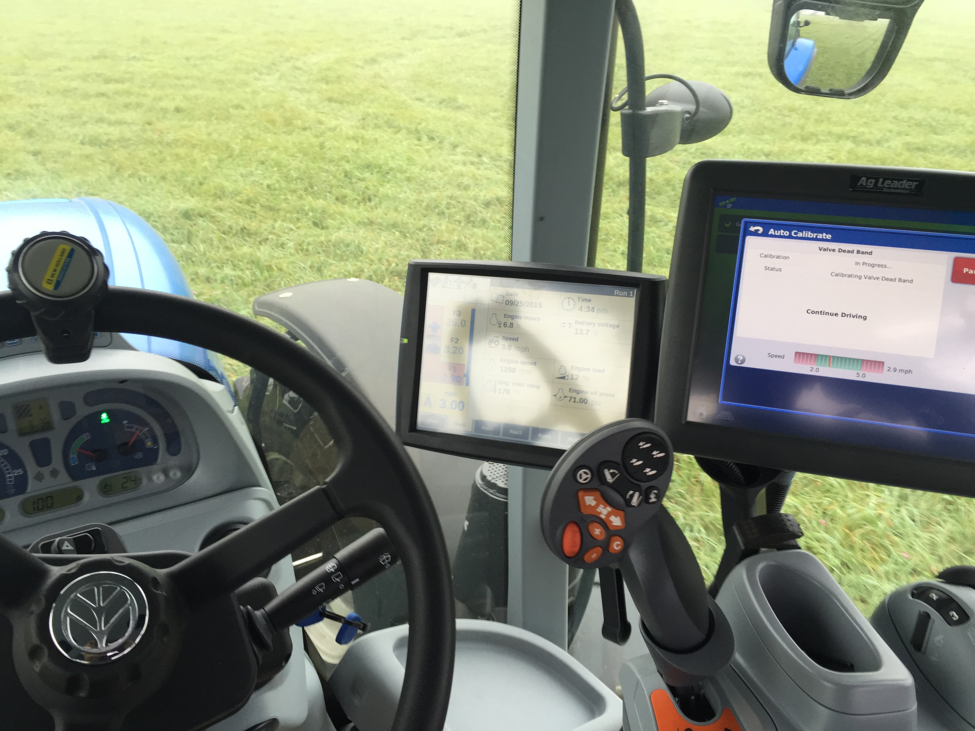 Add an auto steer system from Ag Leader can help to prevent the overlap of working during hours when visibility is low.