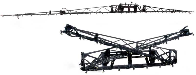 The manual boom fold by Demco is very close and compact for better weight distribution of the entire sprayer.